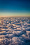Sky and dense clouds from above. Vertical picture of clouds in the sky seen from above Royalty Free Stock Photos