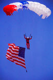 Sky Diver with American Flag. Royalty Free Stock Photography