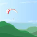 Sky diver flying on a paraglider in the sky over green hills, eps10 vector illustration Stock Photography