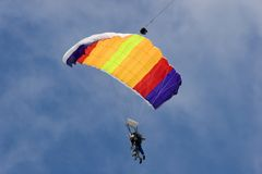 Sky Divers. 2 Sky Divers Parachuting Down stock image