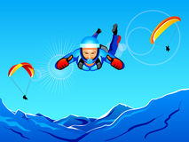 Sky-diving and paragliding Royalty Free Stock Photos