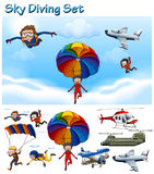 Sky diving set with people and equipment Stock Photo