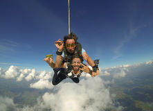 Sky diving tandem happiness Stock Image