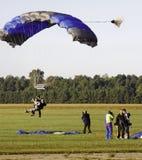 Sky Diving - Tandem Landing Approach! Stock Photo