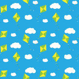 Sky Dragon and Cloud Seamless Pattern Background Stock Photos