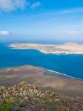 Sky, earth and sea. Landscape, view point Mirador del Rio, Lanzarote, Canary islands Stock Photography