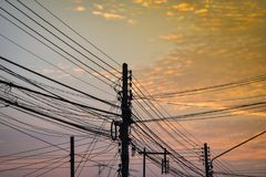 Sky electric pole. Sunset sky and electric pole Stock Photos