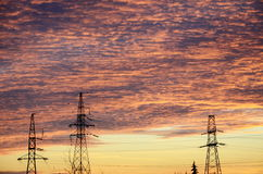 Sky with electric poles Stock Image
