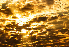 Sky. Explosion gold light on full sky and cloud Royalty Free Stock Photography