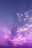 Sky. Explosion white light in violet sky Royalty Free Stock Image