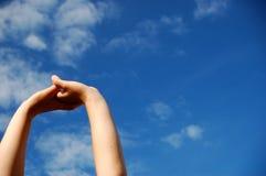 sky för 4 händer Royaltyfri Bild
