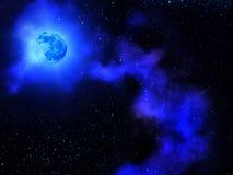 sky för oklarhetsmoonnatt Royaltyfri Fotografi