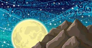 sky för moonbergnatt Fotografering för Bildbyråer