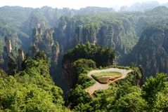 Sky farmland in zhangjiajie. The sky farmland, rising thousands of feet from the ground, is considered one of the most amazing places in Zhangjiajie National Royalty Free Stock Image