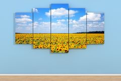 Sky with Fild of Sunflowers Poster in Room on a Blue. 3d Renderi. Sky with Fild of Sunflowers Poster in Room on a Blue Wall background. 3d Rendering Stock Photography