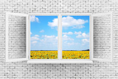 Sky with Fild of Sunflowers Seen Through White Opened Window on. Brick Wall extreme closeup. 3d Rendering Royalty Free Stock Images