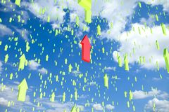 Sky filled with flying arrows with one standing ou Royalty Free Stock Photo