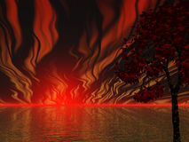 Sky Fire. Blazing fire on the horizon Stock Photography