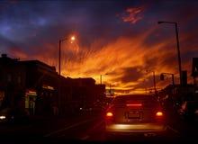 Sky fire. Wonderful sunset on the Bloor street. Toronto, Canada Stock Photo