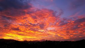 The sky on fire stock image