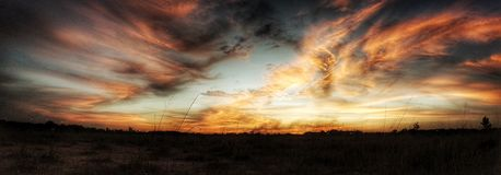 The sky is on fire. Beautiful sunset over a field with Royalty Free Stock Photos