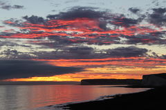 Sky on Fire. Sunset @ Birling Gap, Nr Eastbourne, East Sussex stock images