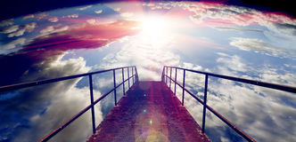 Sky and floor gateway or small bridge background Royalty Free Stock Image