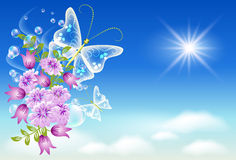 Sky, flowers, and  butterfly. Stock Images