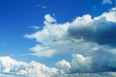 Sky fluffy clouds background. Beautiful sky blue and white.  stock image