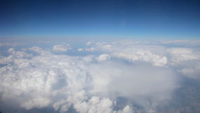 Sky fly. Blue sky view from fly above clouds. Video clip filmed from plane