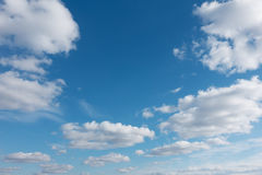 Sky with flying clouds over horizon, heaven. Royalty Free Stock Photography
