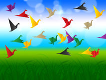 Sky Flying Represents Flock Of Birds And Escaped Royalty Free Stock Image