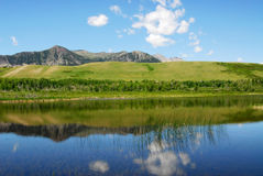 Sky, foothills and lake Royalty Free Stock Images