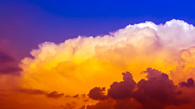 Sky. Full colorful cloudscape with orange and red in deep blue sky Stock Photography