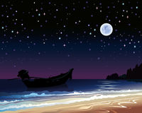 Sky with full moon and boat Royalty Free Stock Image