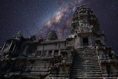 A sky full of stars in angkor wat Royalty Free Stock Image