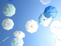 Sky full of umbrellas. The sky full of floating umbrellas Stock Photos