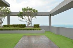 Sky garden on rooftop of condominium with blue sky Stock Photos