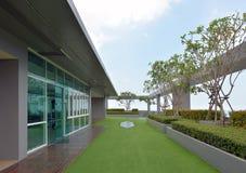 Sky garden on rooftop of condominium with blue sky Royalty Free Stock Photos
