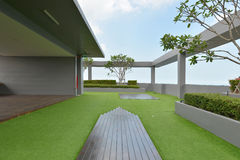 Sky garden on rooftop of condominium with blue sky Royalty Free Stock Photography