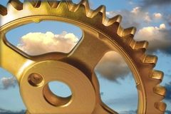 Sky Gear to the rescue. Golden Gear royalty free stock photo
