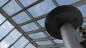 Sky through the glass roof of moden building stock video footage