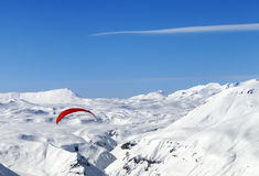 Sky gliding in Caucasus Mountains Royalty Free Stock Photos
