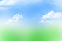 Sky and grass. Sky with clouds and blurred grass abstract background stock photos