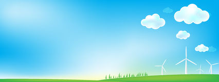 Sky and grass wind mill background Royalty Free Stock Image