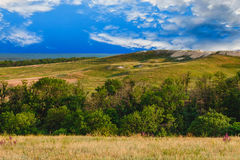Sky green landscape forest nature hill view summer Stock Photo