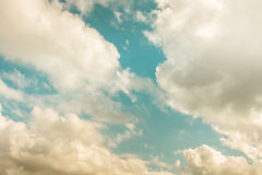 Sky. Green sky with white and brown clouds Royalty Free Stock Image