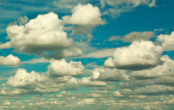 Sky and group of clouds in retro style Royalty Free Stock Images