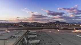 Sky Harbor Airport, Phoenix,AZ,USA. May,8th,2016 March 2016 was the busiest month ever for Phoenix Sky Harbor International Airport. 4k Time-lapse of terminal 4 stock video footage