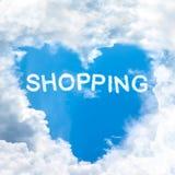 Sky heart shaped by cloud. Love shopping inside blue sky shape heart from cloud frame stock image